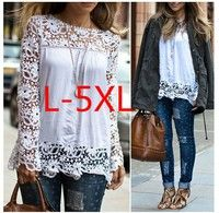 Plus Size Womens Chiffon Lace Crochet Hollow Out Long Sleeve Shirt Blouse Style: casual Material: ch