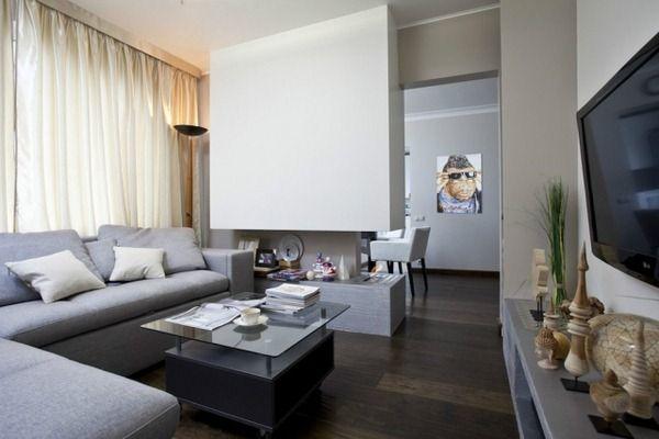 wohnzimmer-modern-einrichten-graue-moebel-gas-kamin-raumteiler - wohnzimmer mit essbereich ideen