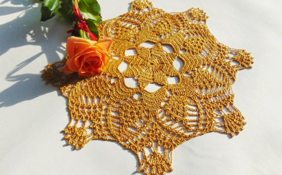 Gold Lace Doily Crochet Medium Doilies Cotton by MaddaKnits