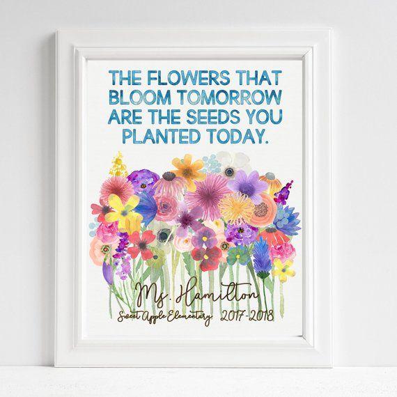 Teacher Gift Flowers Teacher Appreciation Flowers Bloom Personalized Classroom Art Unframe Teacher Appreciation Gifts Teacher Gifts Diy Teacher Gifts