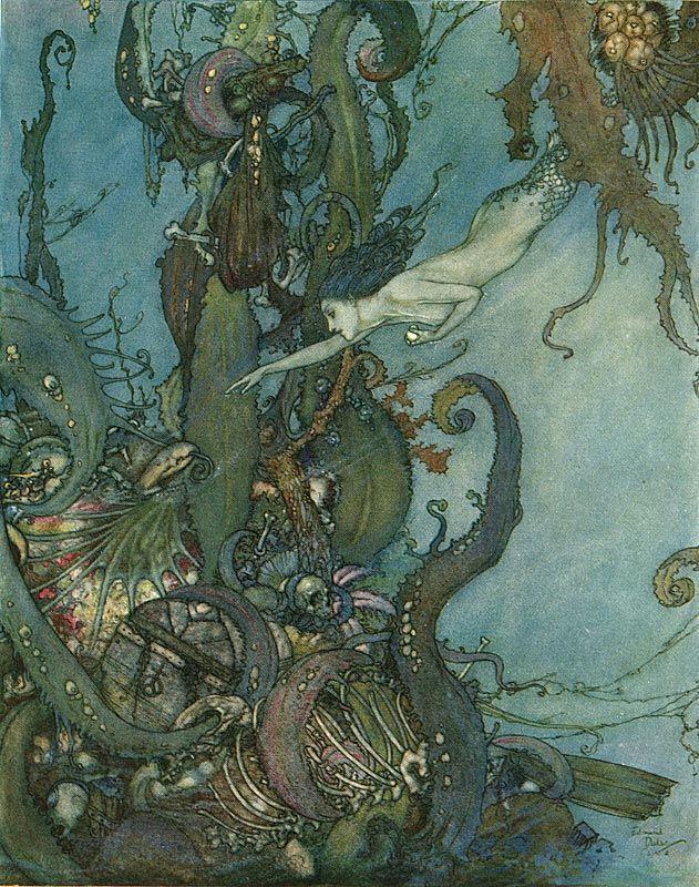 Little Mermaid illustrations, Edmund Dulac