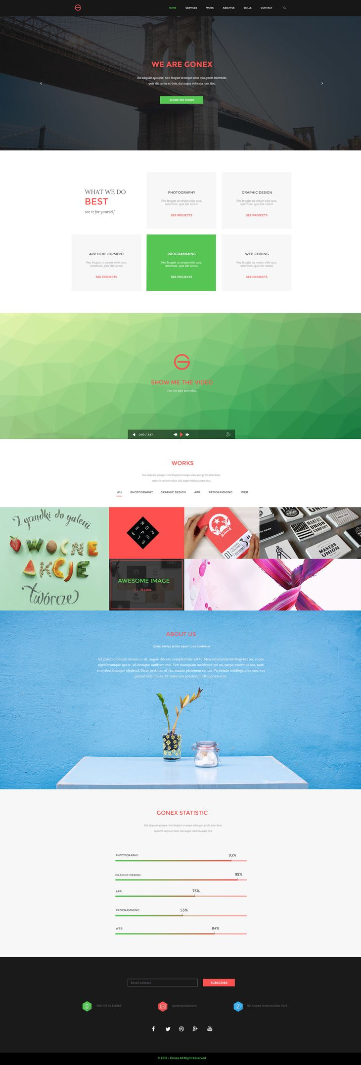 Gonex - It's a one page psd template,great for small agency or studio. It is featured by a modern and professional look with minimalistic style.PSD file is layered and grouped.