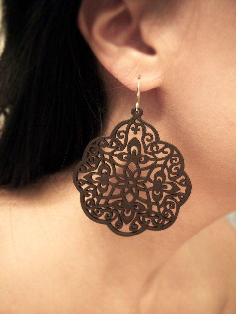 Intricately Carved/Cut Wood Earrings - Bohemian Style Lotus Earrings - Rich Chocolate Brown. $17.00, via Etsy.