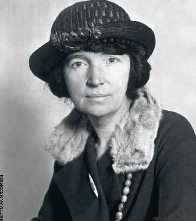 Margaret Sanger, oft-persecuted crusader for dissemination of contraception information to women [illegal at the time]