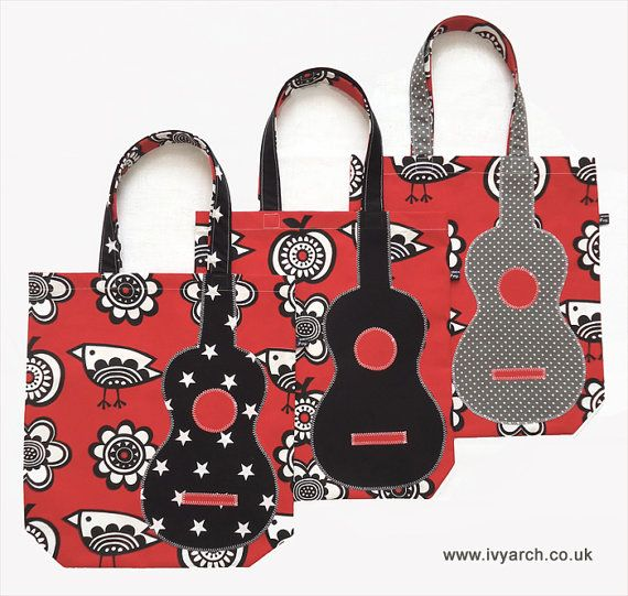 Ukulele bag in red black & white with grey polka dot by IvyArch