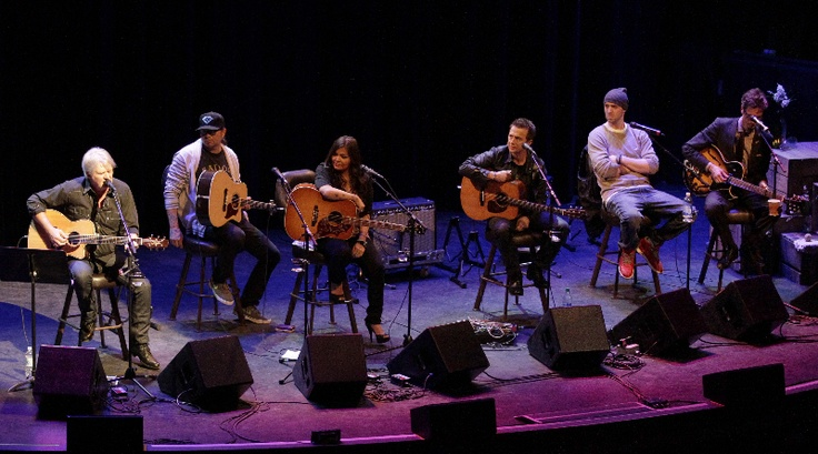 Tom Cochrane, Crystal Shawanda, Colin James, Classified, and David Myles on stage.  CARAS/iPhoto