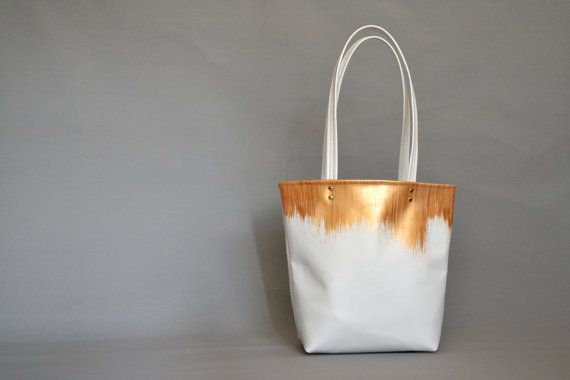 White & Gold Leather Bag White Leather Tote by BarbaLeatherStudio