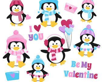 80% OFF SALE Valentines day clipart Valentine penguin