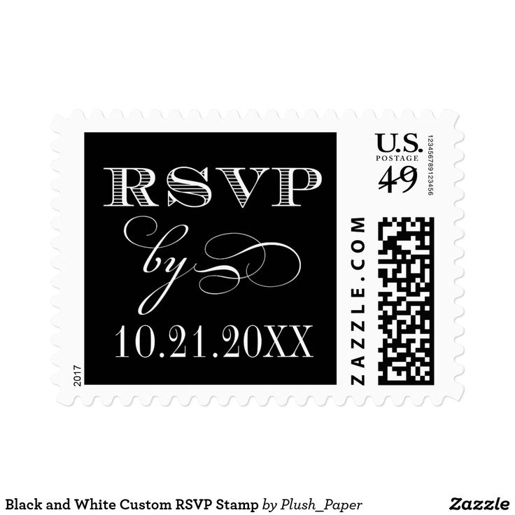 Black and White Custom RSVP Stamp Custom wedding rsvp postage stamp design in elegant mixed typography. Personalize with your due date for reply cards.
