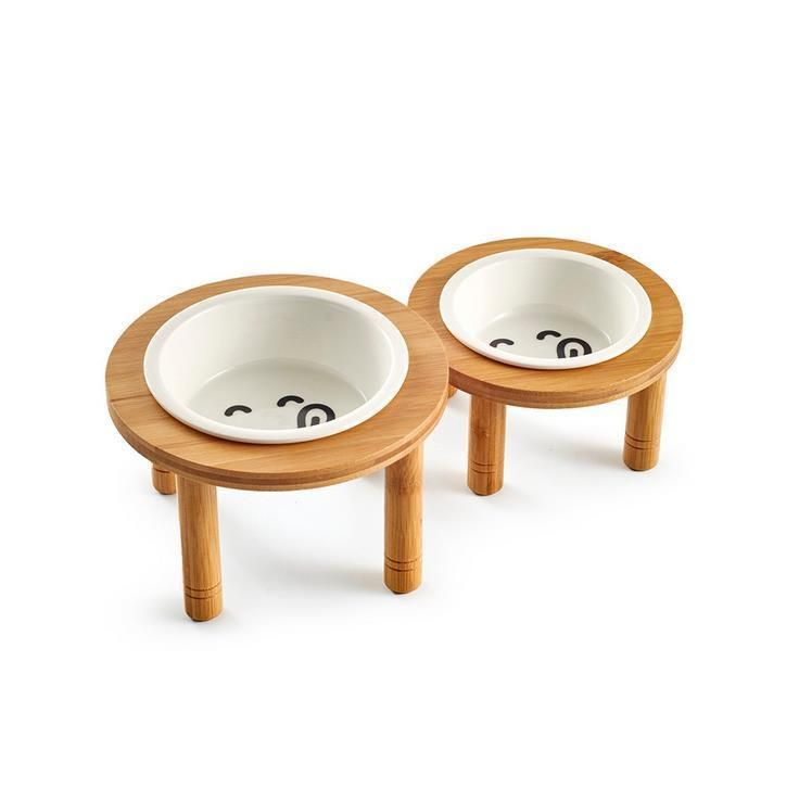 Details About Ceramic Pet Bowl With Sturdy Bamboo Stand For Food