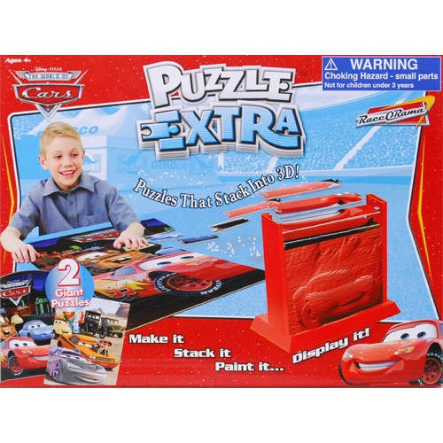 Disney Cars 3D Puzzle Extra: Your little ones will have a blast putting together these puzzles, and not just because they feature characters from Disney Cars. Disney Cars 3D Puzzle Extra includes two 69 piece 2D puzzles that reveal a 3D stacking sequence when put together.  $19.99  http://calendars.com/Disney/Disney-Cars-3D-Puzzle-Extra/prod201100012753/?categoryId=cat00144=cat00144#