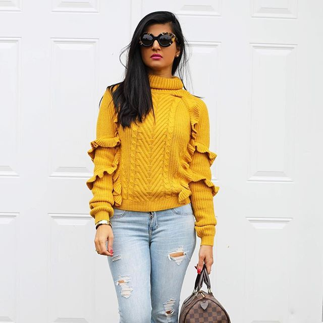 Working on tomorrows post Knitted ruffle sweater  distressed jeans http://zunera-serena.com/ruffle-knitted-sweater-distressed-jeans/