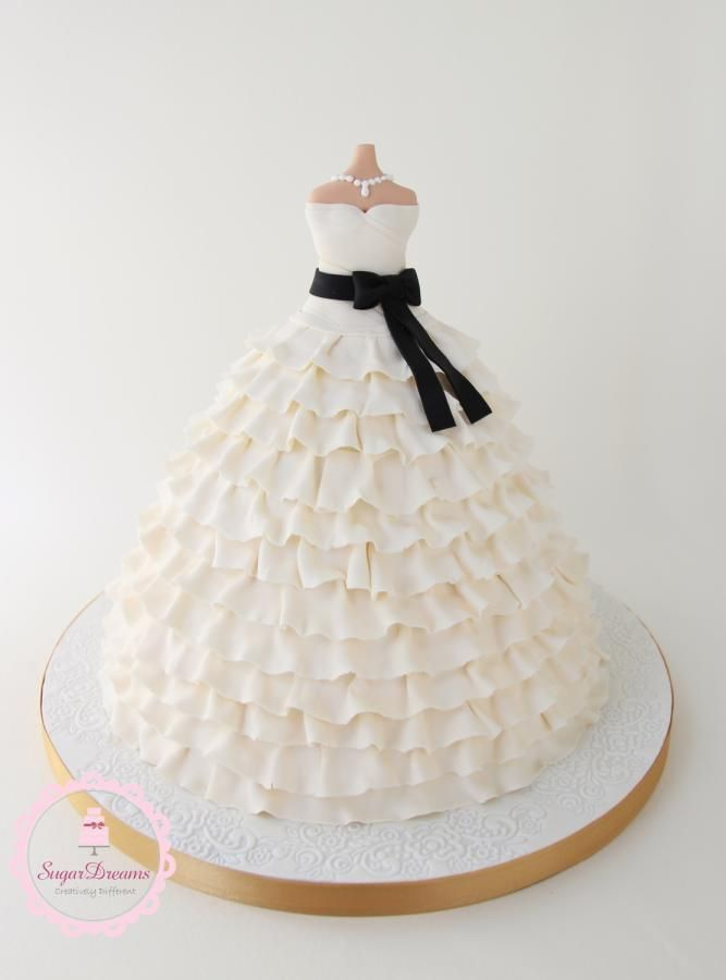 Wedding Dress Cake inspired by a Vera Wang wedding dress...perfect for a bridal shower.