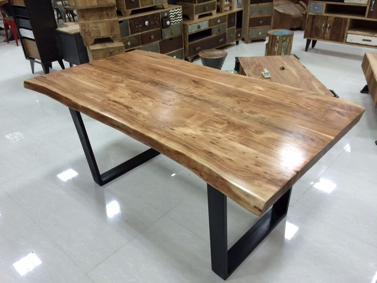 6 Foot Acacia Natural Wood Table - Black U-Shape Steel Legs