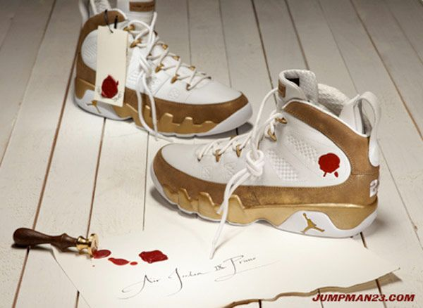 Mens Air Jordan Retro 9 Bin 23 White Gold shoes