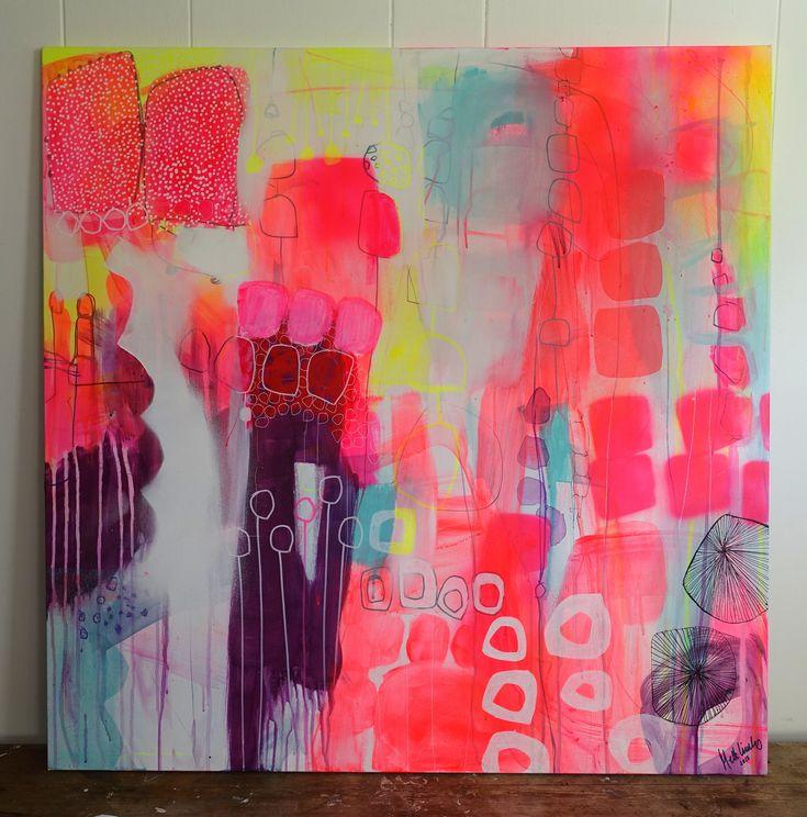 Neon and pastel painting by Mette Lindberg. www.mettesmaleri.dk