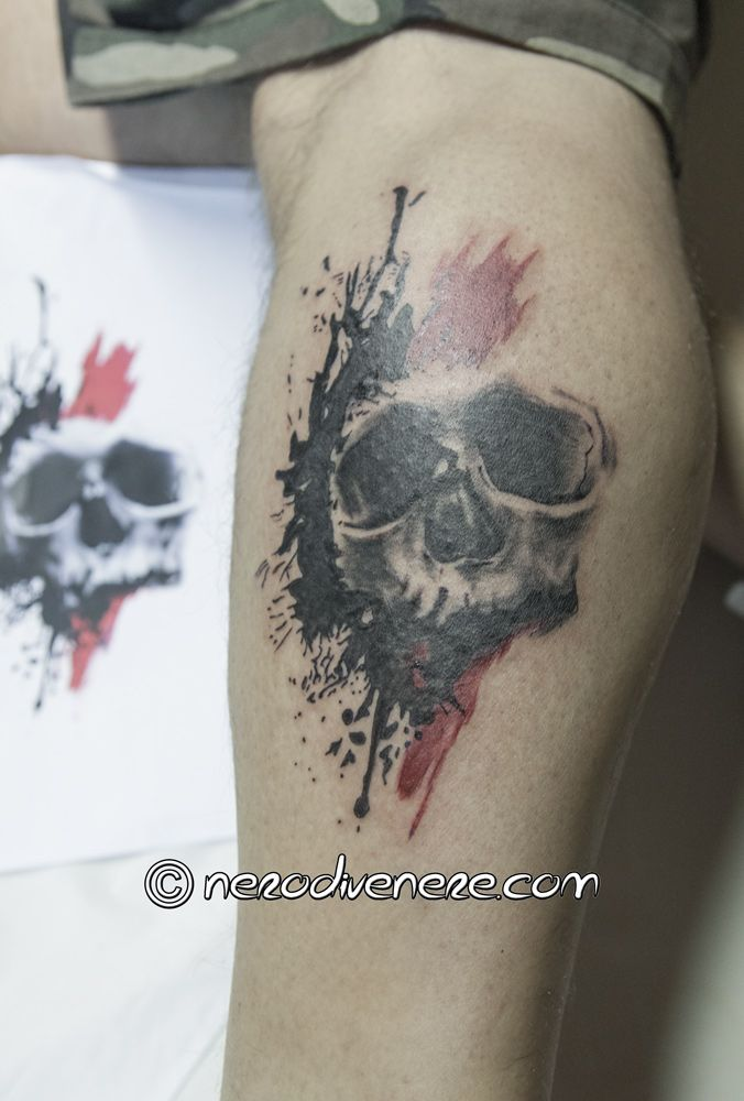 #tattoo trash #polka style #red #skull #tatuaggio #teschio