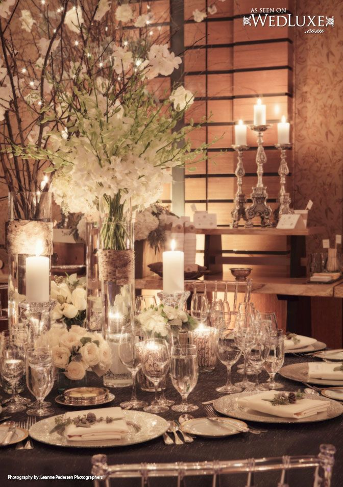 WedLuxe: winter #wedding with white and silver decor  #tablescape