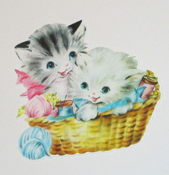 New American made childs children's retro greeting card die cut scrap cute kittens in a knitting basket scrap booking party decorations