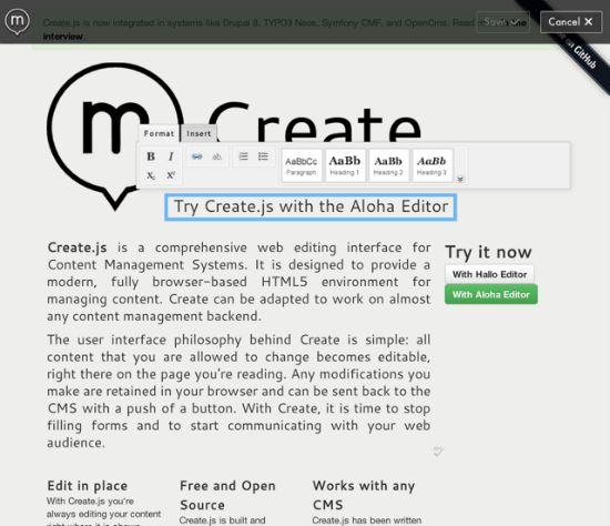 createjs inpage editing for content management systems using html5 insight information