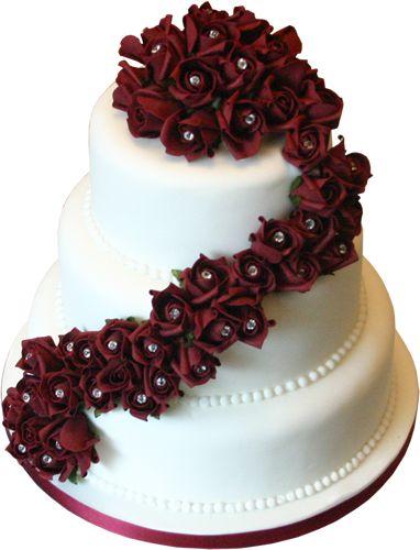 3 Tier Burgandy Rose Wedding Cake