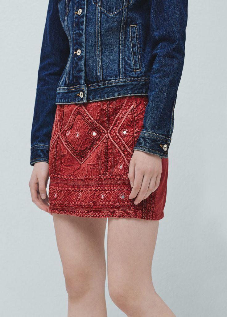 Хлопковая юбка с вышивкой | MANGO МАНГО