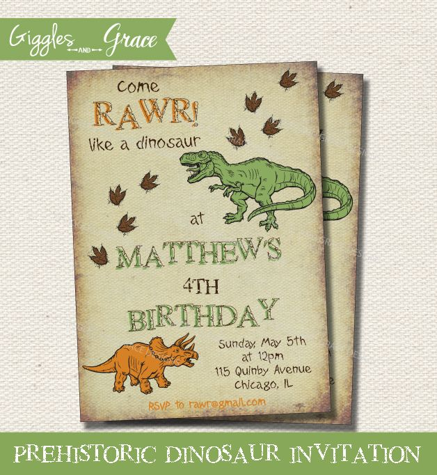 119 best convites dinossauro images on pinterest | invitations, Birthday invitations