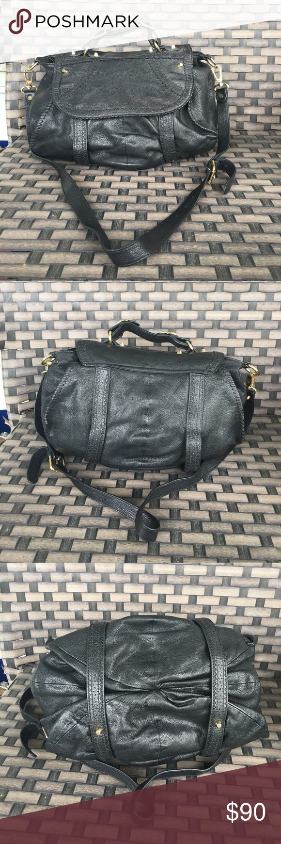 """Treesje black leather crossbody bag Brand is carried by anthropologie the purse in the 2nd to last pic is the same size just a different style. This bag is in excellent condition the leather is amazing! 13""""X9.5"""" Anthropologie Bags Crossbody Bags"""