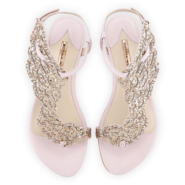 Sophia Webster Seraphina Angel-Wing Flat Sandal ($505) ❤ liked on Polyvore featuring shoes, sandals, pink glitter, flat shoes, flat sandals, open toe flats, embellished sandals and ankle tie flat sandals