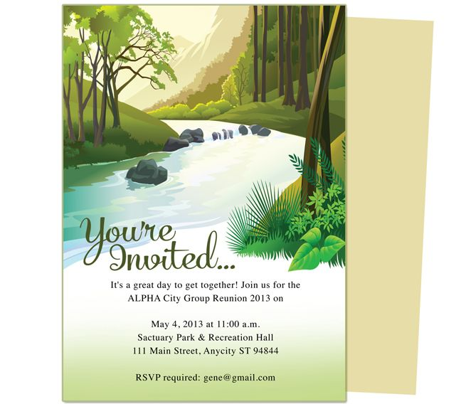 brook family or event reunion party invitation templates use with