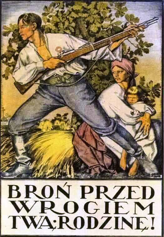 """Defend your family against the enemy!"" - Polish propaganda poster."