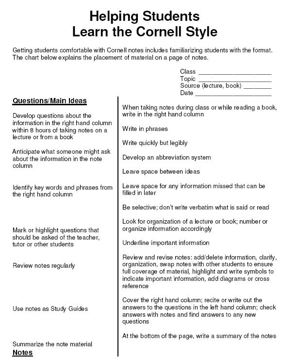 Sample Cornell Note. Cornell Notes Literacy Lifesaver Cornell