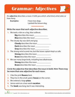 adjective practice homeschool english grammar worksheets grammar worksheets adjective. Black Bedroom Furniture Sets. Home Design Ideas