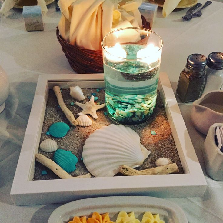 wedding shower centerpieces beach theme%0A Beach themed centerpiece  offered free of charge   floating candles not  provided