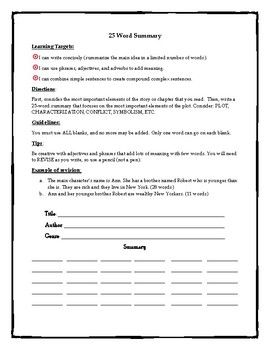 25 Word Summary Worksheet Great for SSR days or those times when you need a quiz but don't have time to make one.