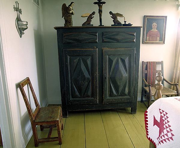 short armoire | Eighteenth-century armoire with diamond-point carving and two drawers ...