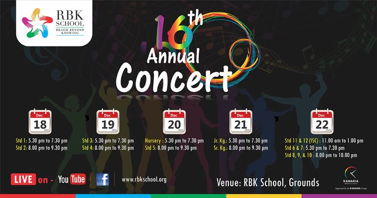 RBK School organizing the 16th Annual Concert from 18th Dec to 22nd Dec, 2016. Venue : RBK School, Grounds.