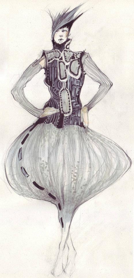 Fashion sketch costume pencils technique.