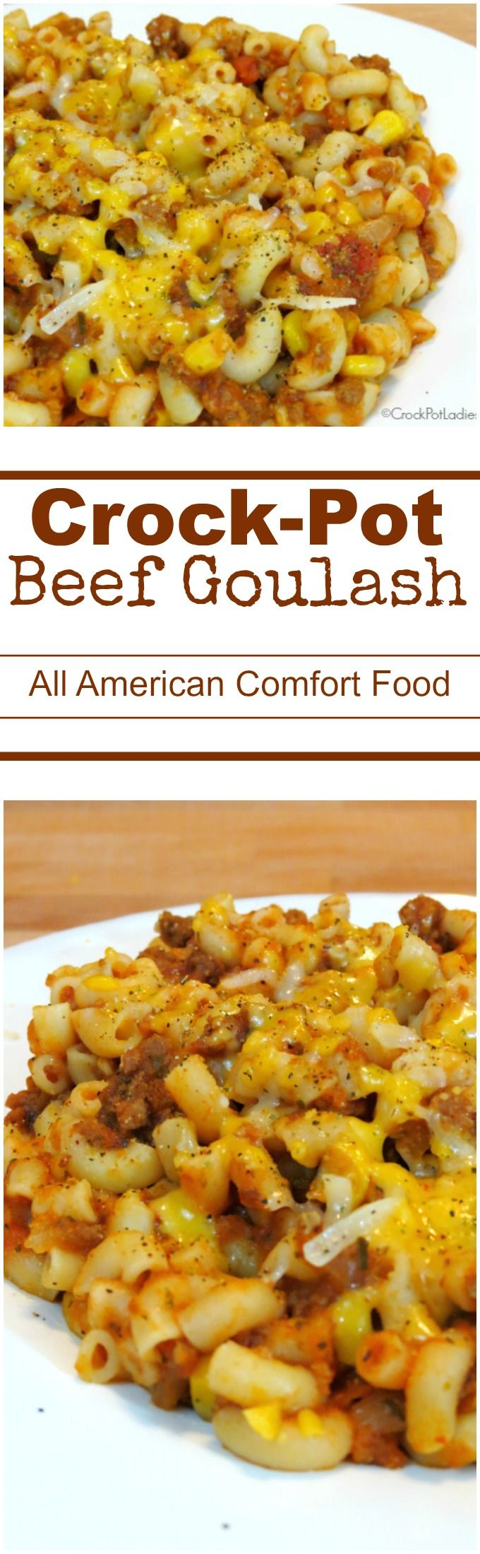 Crock-Pot Beef Goulash - Make this affordable, easy and delicious recipe for Beef Goulash in your slow cooker for good old fashioned American comfort food. Ground beef is simmered away in a tomato based sauce for several hours in the crock-pot, pasta is added at the end and it is all topped with shredded cheese for a meal the whole family will love! | #CrockPotLadies #CrockPot #SlowCooker #Recipe #ComfortFood #GroundBeef #Hamburger