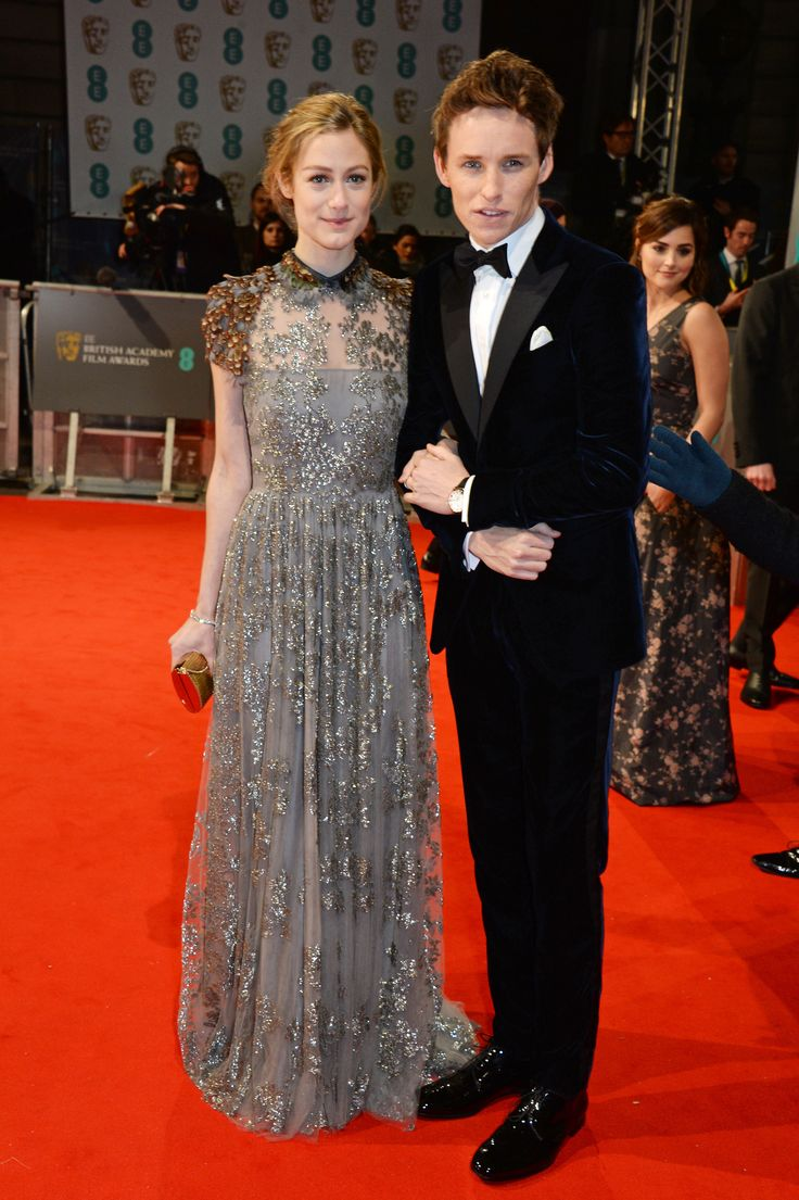 BAFTAs 2015 red carpet : Eddie Redmane in Giorgio Armani and wife Hannah Bagshawe in Valentino
