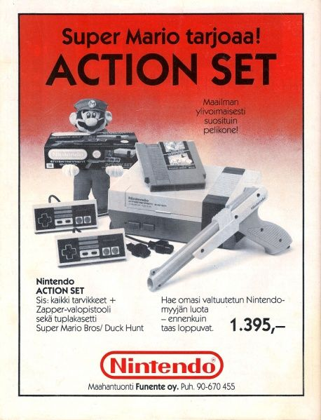 Nintendo Action Set ad in the MikroBitti magazine (8/90).