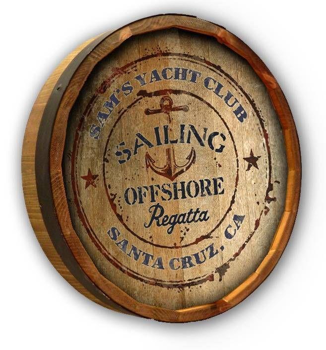 "Sailing Yacht Club Quarter Barrel Wood Sign Personalized Bar Man Cave 19"" #QuarterBarrelWoodSign"