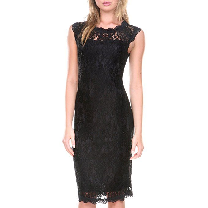 Stanzino Cocktail Dress | Lacy Black Dress. Perfect for party season and so affordable. How often do you find a great party dress for less than $20 on Amazon? #Dress #PartyDress #LittleBlackDress #BlackLace #LoveThisDress