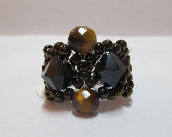 Anillo semilla granos negro bronce con cristales negros 8mm con ojo de tigres redondas piedras de cordón elástico tamaño 7