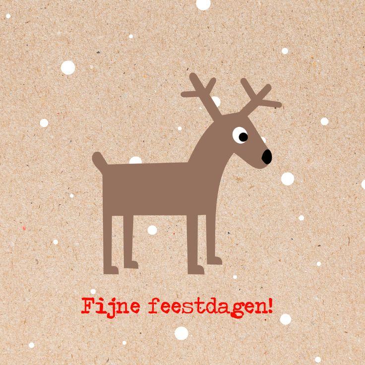 Trendy kerstkaart met rendier en sneeuw, verkrijgbaar bij #kaartje2go voor €11,95