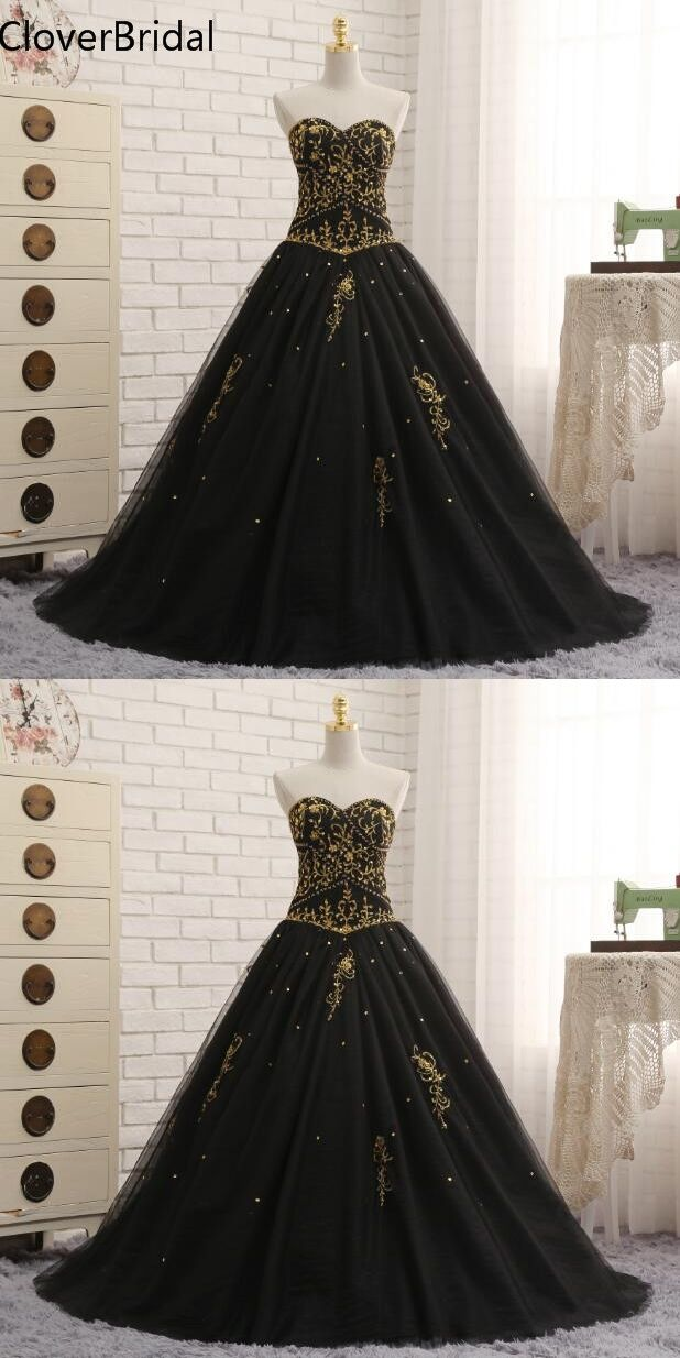 a6e846d35c731 Black Quinceanera Dresses Tulle With Gold Embroidery Beaded Sweet 16 ...