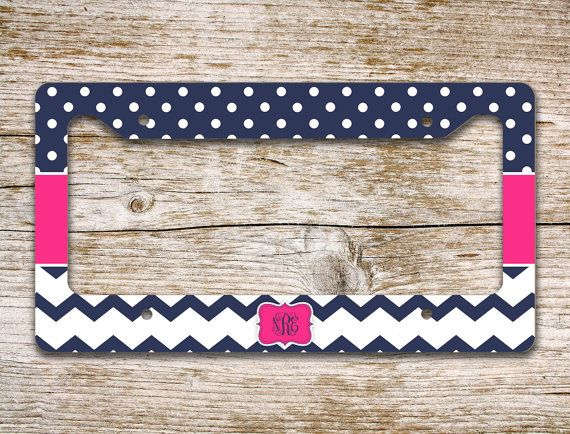 Personalized front license plate frame - Navy blue chevron with polka dots and hot pink by ToGildTheLily, $16.99 - also available as a front car tag or bike license plate