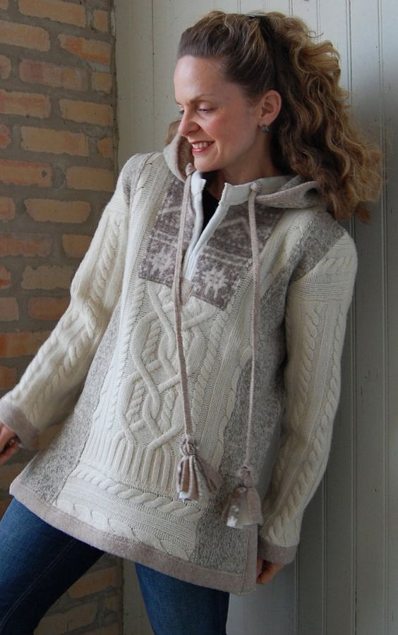 Upcycled clothing, Snowlight Hoodie Pullover, womens medium, cream and taupe, recycled felted wool with tassels: