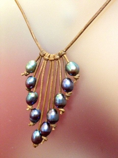 SALE Peacock Pearl and Leather Jewelry NahmFon 1 by AdiDesigns