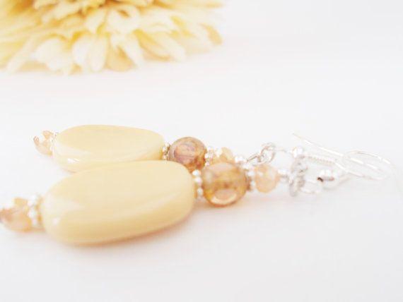Beige Earrings Tan Glass Earrings Crystal by chicagolandia on Etsy